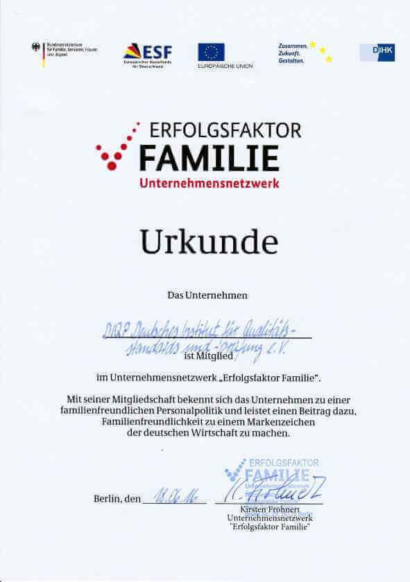 Hier finden Sie die Urkunde des DIQP von Erfolgsfaktor Familie