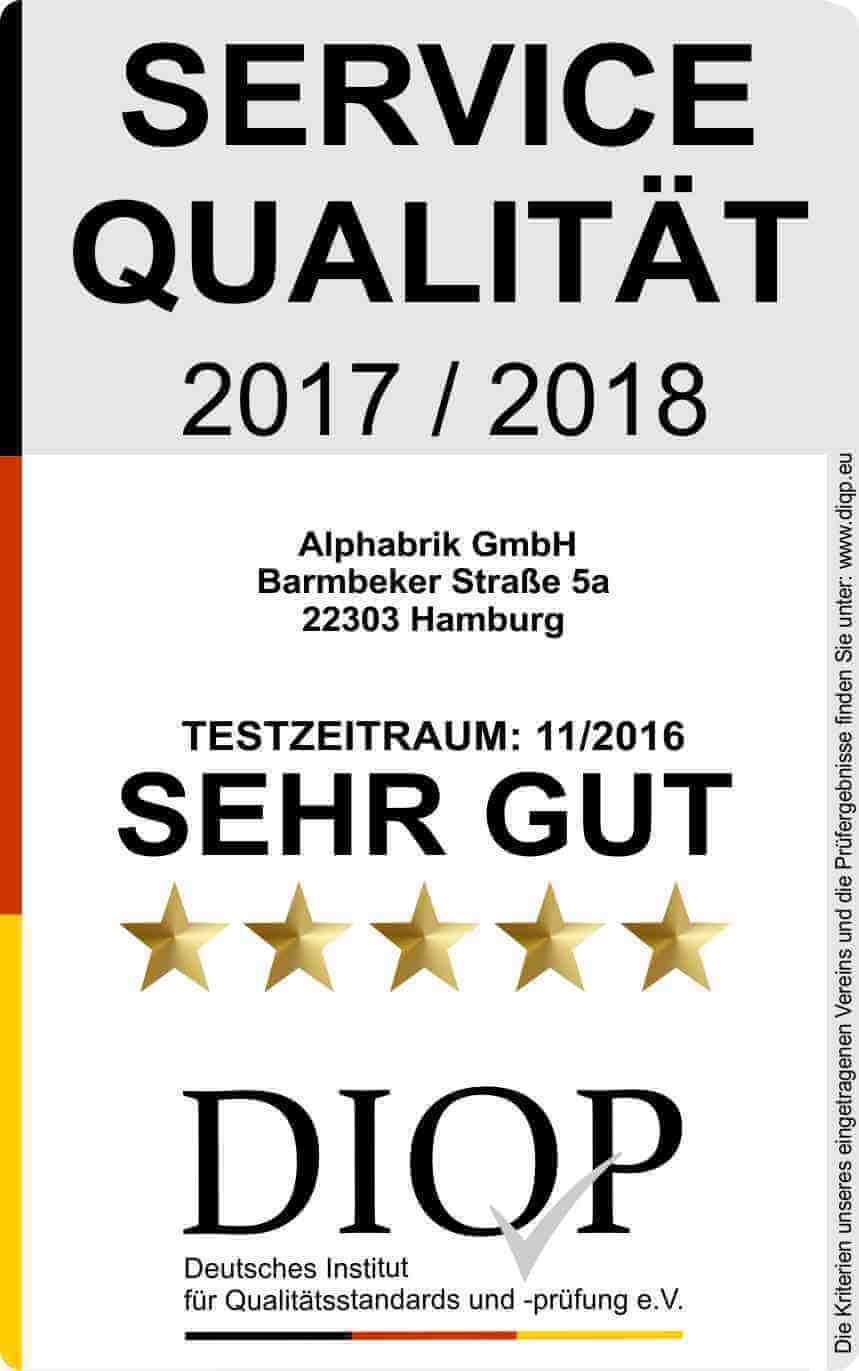 Geprüfte Servicequalität (DIQP) für Alphabrik GmbH