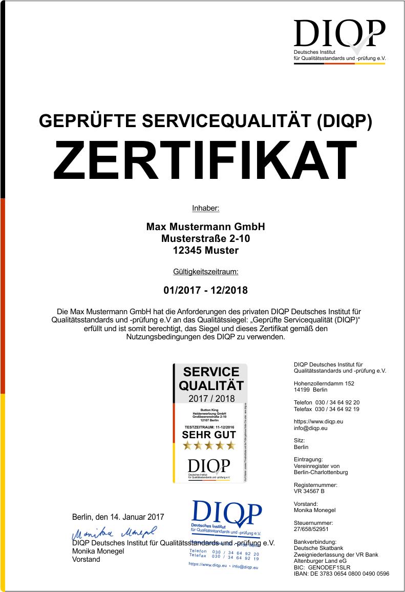 Zertifikat für Ihre Servicequalität