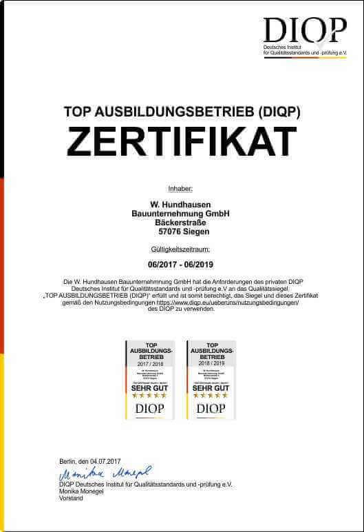 Das Gütesiegel des DIQP für Top Ausbildungsbetriebe