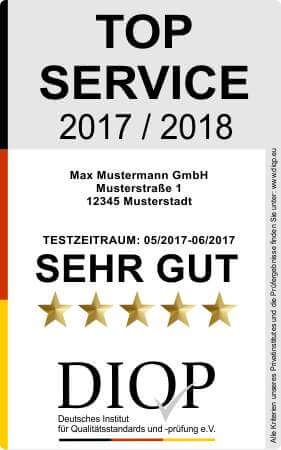 Top Service (DIQP) ist das Gütesiegel für guten Service in Deutschland