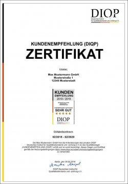 Zertifizierungsurkunde: Kundenempfehlung (DIQP)