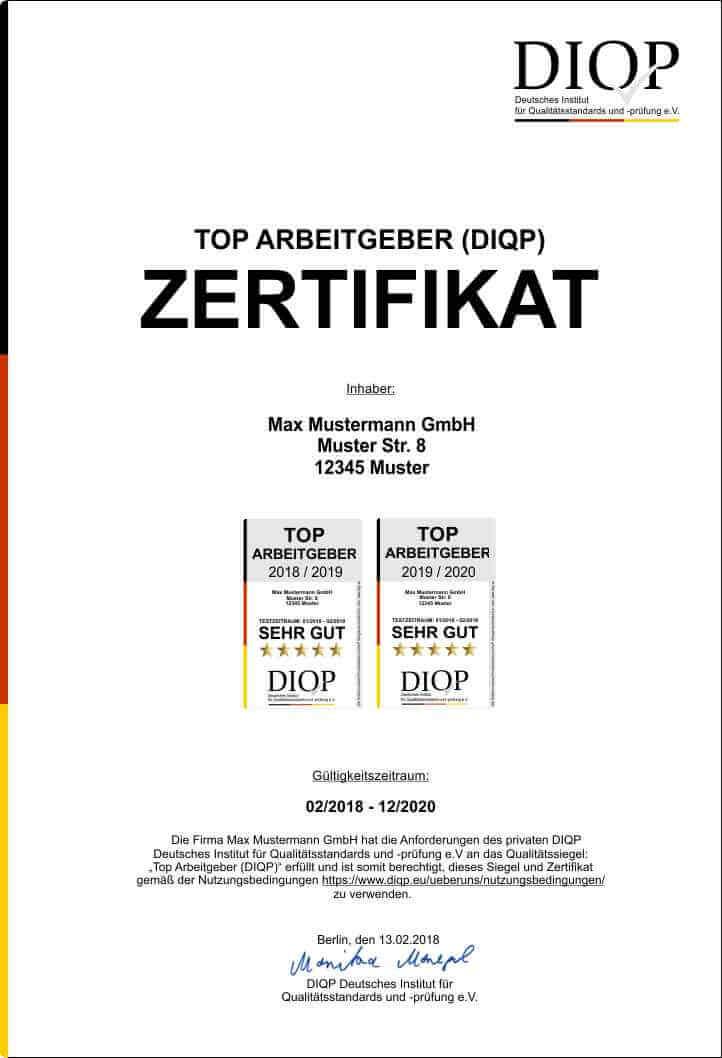 TOP ARBEITGEBER Zertifikat