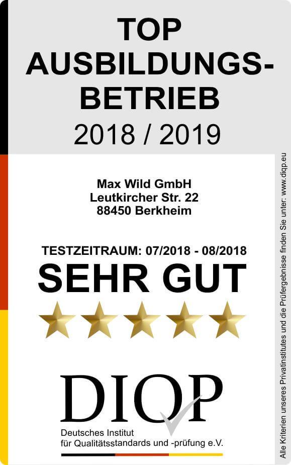 Top Ausbildungsbetrieb Max Wild 2018-2019 klein