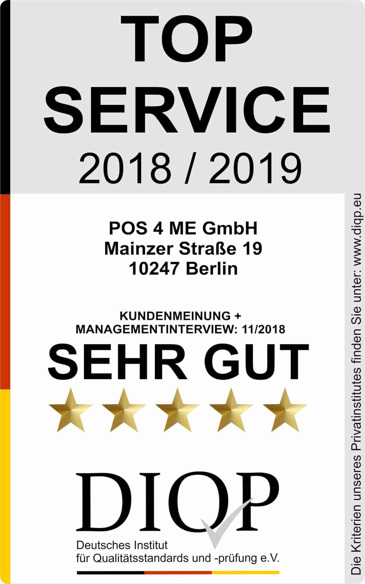 Top Service (DIQP) Siegel POS4ME 2018-2019