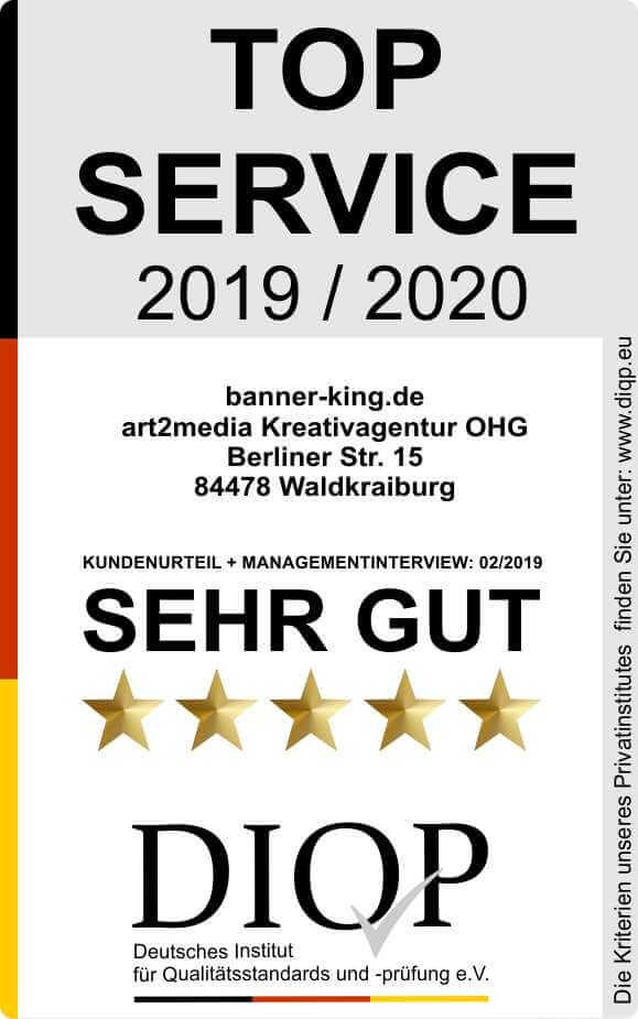 Top Service (DIQP) Siegel Banner Kingklein
